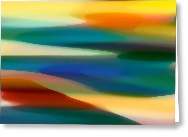 Sunset Abstract Greeting Cards - Fury Seascape 5 Greeting Card by Amy Vangsgard