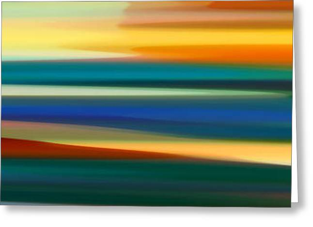 Abstract Beach Landscape Greeting Cards - Fury Seascape Panoramic 1 Greeting Card by Amy Vangsgard