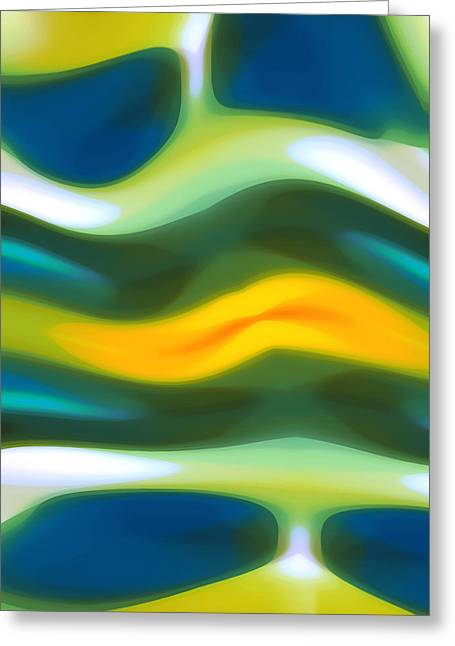 Blue Green Wave Digital Greeting Cards - Abstract Tide 3 Greeting Card by Amy Vangsgard