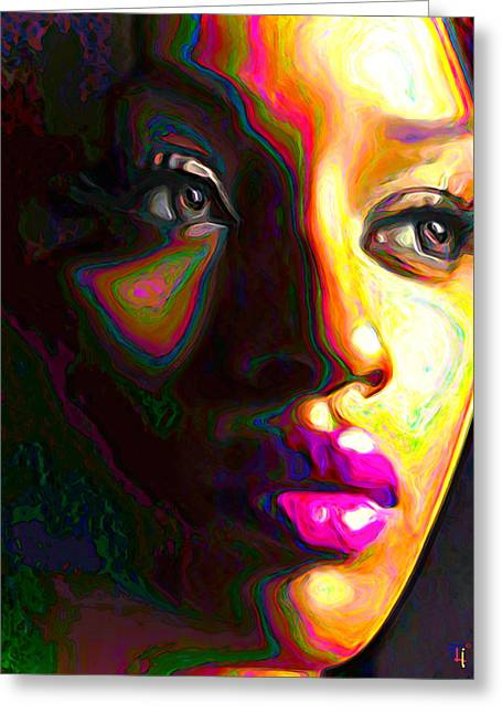 Woman Head Prints Greeting Cards - Fuschia Greeting Card by  Fli Art