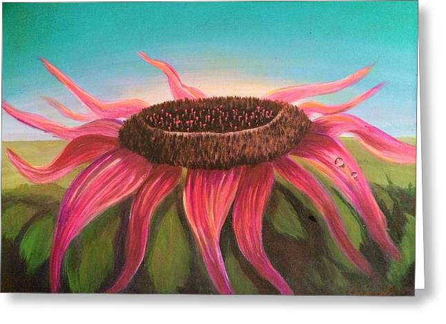Abstract Realist Landscape Greeting Cards - Fuschia Sunflower Greeting Card by Joy Gilley
