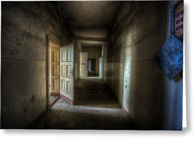 Spooky Door Greeting Cards - Fuse hallway Greeting Card by Nathan Wright