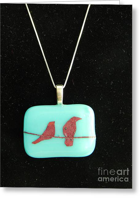 Bird Jewelry Greeting Cards - Fused Glass Bird Pendant Greeting Card by Patricia  Tierney