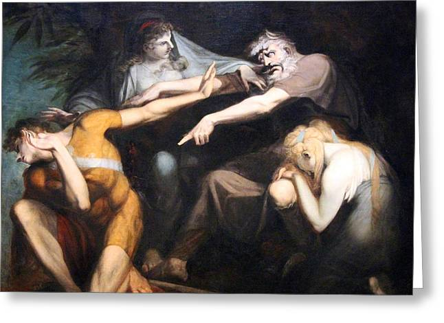 Henry Fuseli Greeting Cards - Fuselis Oedipus Cursing His Son Polynices Greeting Card by Cora Wandel