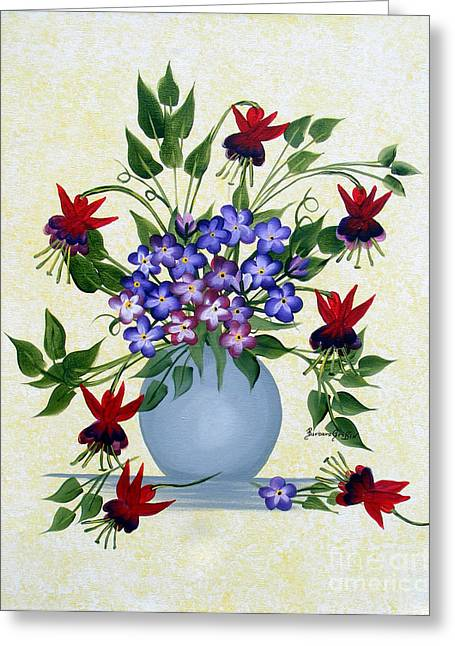 Fushia Greeting Cards - Fushias and Forget-me-nots Greeting Card by Barbara Griffin