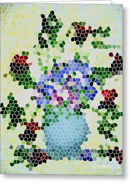 Fushia Greeting Cards - Fushias and Forget-me-nots Mosaic Art Greeting Card by Barbara Griffin