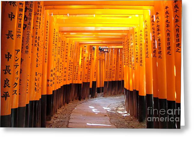 Torii Greeting Cards - Fushimi Inari Greeting Card by Delphimages Photo Creations