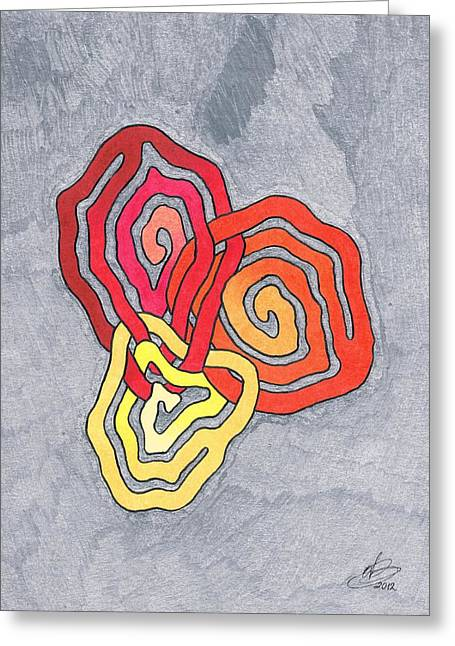 Helix Drawings Greeting Cards - Fusion of Colors Greeting Card by Andreas Berthold