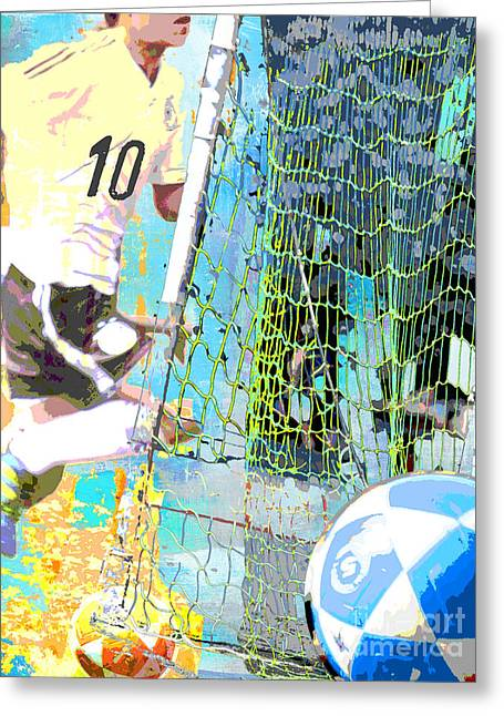 Whimsical Mixed Media Greeting Cards - Futbol Soccer Player Print Greeting Card by Adspice Studios
