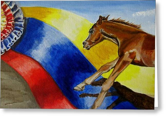Quarter Horses Greeting Cards - Future Champions I  Greeting Card by Kathleen  Reiman