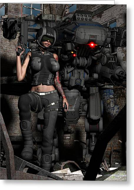 Industrial Icon Digital Art Greeting Cards - Future Cop Greeting Card by Todd and candice Dailey