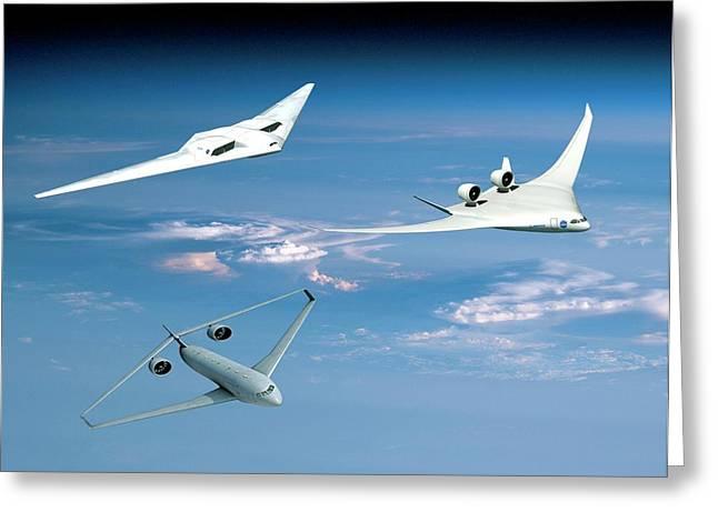 Future Green Aircraft Greeting Card by Nasa
