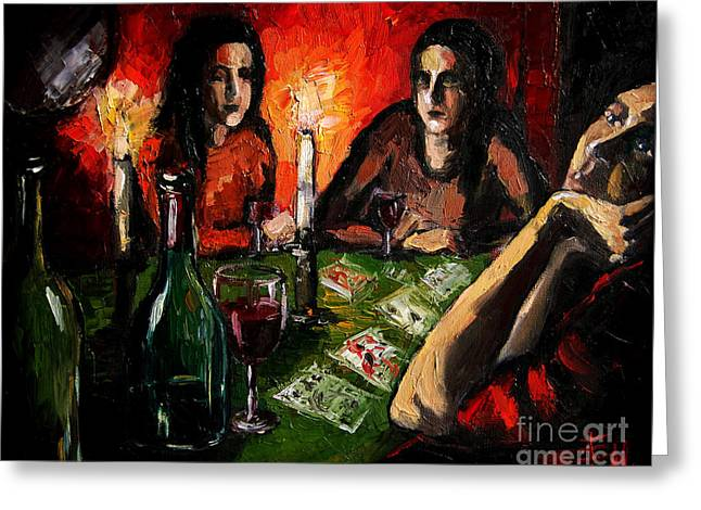 Red Wine Greeting Cards - Future Telling Greeting Card by Mona Edulesco