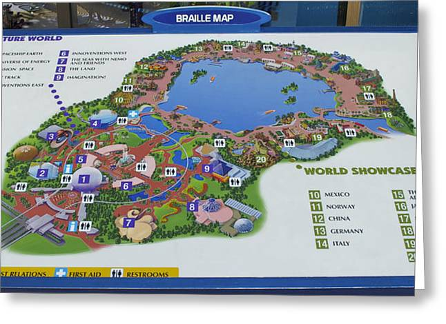 Photography By Thomas Woolworth Greeting Cards - Future World Map Walt Disney World Digital Art Greeting Card by Thomas Woolworth