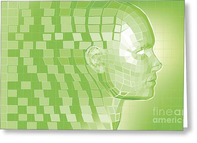 Future Tech Mixed Media Greeting Cards - Futuristic avatar  polygon mesh background Greeting Card by Christos Georghiou