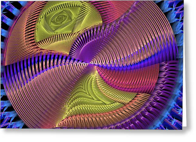 Future Tech Greeting Cards - Futuristic Blue Pink And Yellow Tech Disc Fractal Flame Greeting Card by Keith Webber Jr
