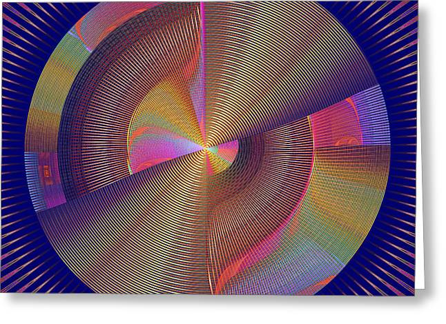 Geometric Style Greeting Cards - Futuristic Blue Yellow And Pink Tech Disc Fractal Flame Greeting Card by Keith Webber Jr