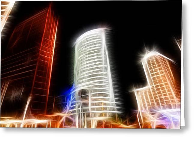 Futuristic Buildings In Berlin Potsdamer Platz Digital Art Greeting Card by Matthias Hauser