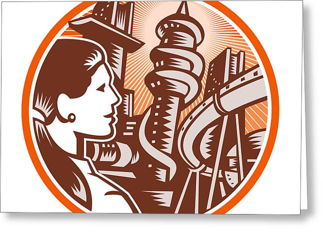 Future World Greeting Cards - Futuristic City Woman Side Circle Woodcut Greeting Card by Aloysius Patrimonio