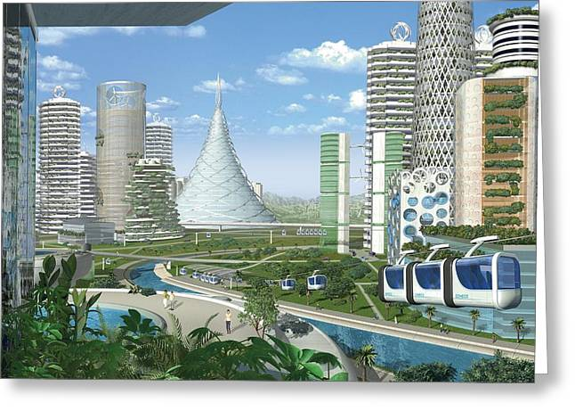 Future Tech Greeting Cards - Futuristic eco city, conceptual image Greeting Card by Science Photo Library