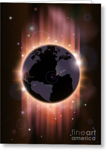 Solar Eclipse Drawings Greeting Cards - Futuristic globe concept illustration Greeting Card by Christos Georghiou