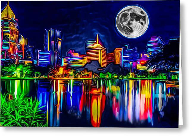 Artstic Greeting Cards - Futuristic Moon Rise Greeting Card by Ron Fleishman