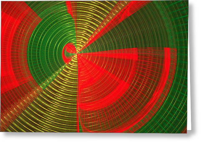 Geometric Style Greeting Cards - Futuristic Tech Disc Green and Red Fractal Flame Greeting Card by Keith Webber Jr