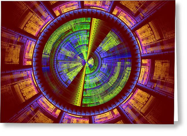 Surreal Geometric Greeting Cards - Futuristic Tech Disc Red Green and Yellow Fractal Flame Greeting Card by Keith Webber Jr