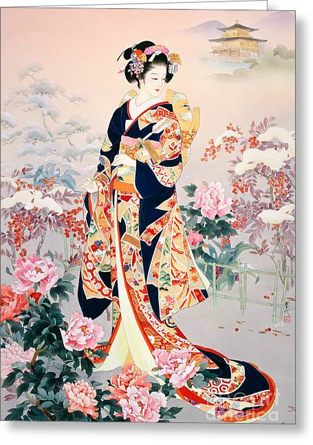 Art Print Digital Art Greeting Cards - Fuyune Greeting Card by Haruyo Morita