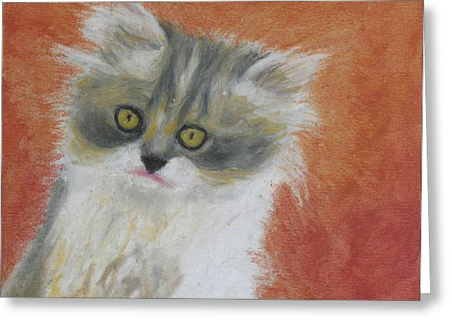 Creature Pastels Greeting Cards - Fuzzy Kitten Greeting Card by Jeanne Fischer