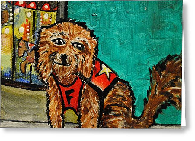 Asbury Park Paintings Greeting Cards - Fuzzy The Dog Greeting Card by Patricia Arroyo