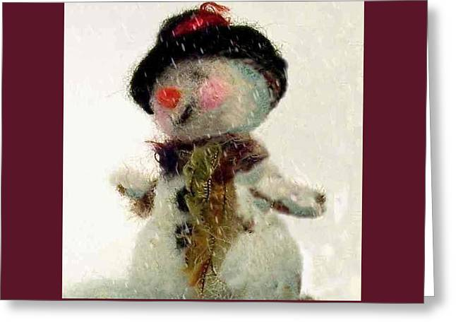 Christmas Greeting Greeting Cards - Fuzzy the Snowman Greeting Card by Mary Wolf