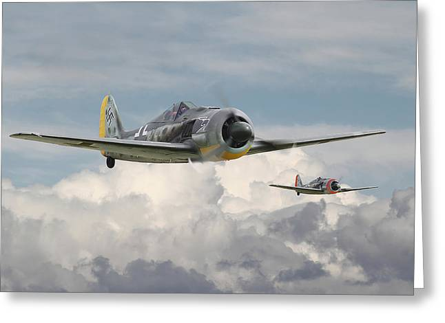 Luftwaffe Greeting Cards - Fw 190 - Butcher Bird Greeting Card by Pat Speirs