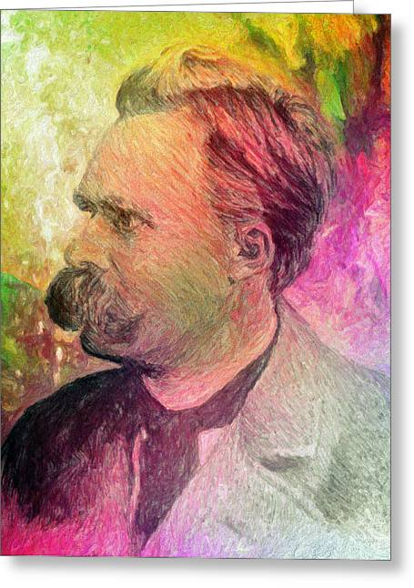 Spokes Greeting Cards - F.W. Nietzsche Greeting Card by Taylan Soyturk