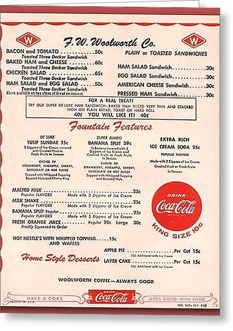 Fw Woolworth Lunch Counter Menu Greeting Card by Thomas Woolworth