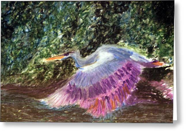 Flying Bird Pastels Greeting Cards - Fying Crane Over River Greeting Card by Giraldo Lee