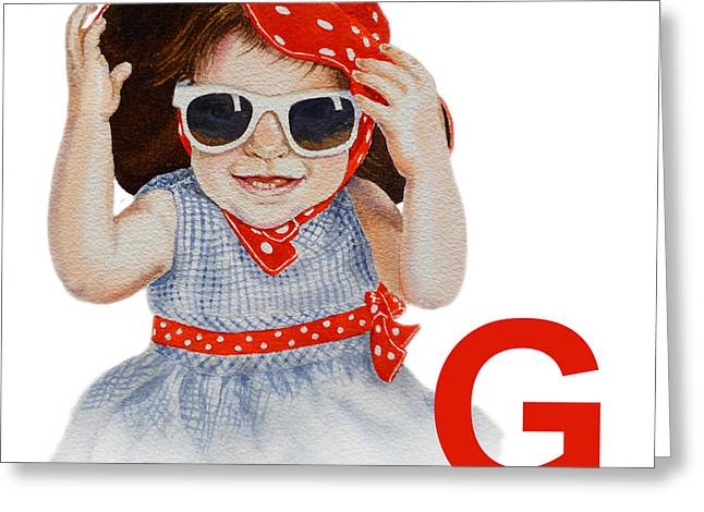 Children Decor Greeting Cards - G Art Alphabet for Kids Room Greeting Card by Irina Sztukowski