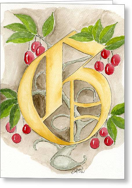 Calligraphy Drawings Greeting Cards - G Greeting Card by Eva Ason