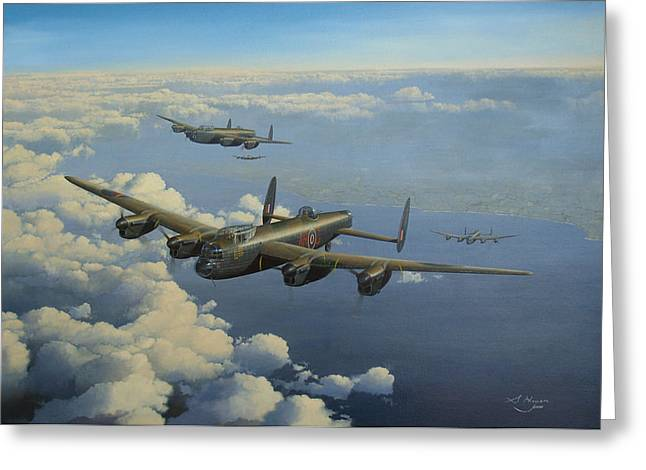 Military Airplanes Paintings Greeting Cards - G for George Greeting Card by Steven Heyen