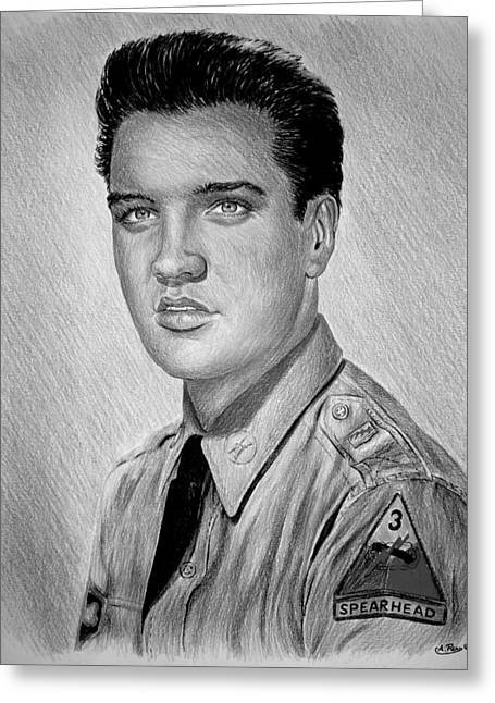 Movie Drawings Greeting Cards - G I Elvis  Greeting Card by Andrew Read