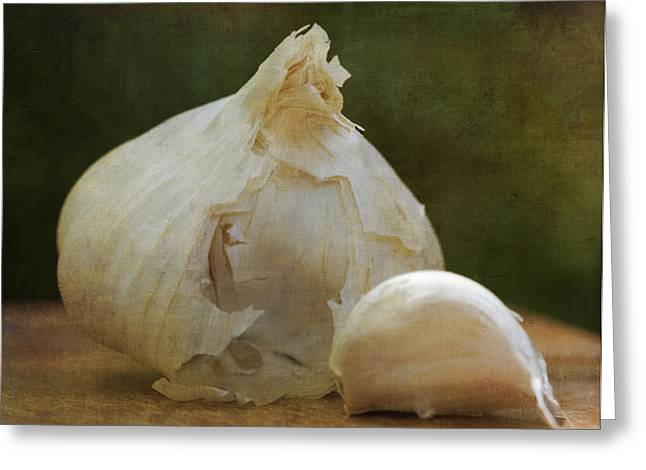 Pungent Greeting Cards - G is for Garlic Greeting Card by Juli Scalzi