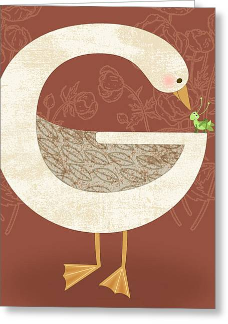 G Is For Goose Greeting Card by Valerie Drake Lesiak