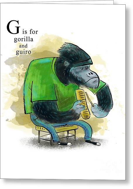 Animal Alphabet Greeting Cards - G is for gorilla Greeting Card by Sean Hagan