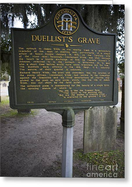 Grave Side Greeting Cards - GA-25-22 Duellists Grave Greeting Card by Jason O Watson