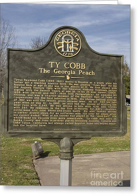 Ga-59-10 Ty Cobb The Georgia Peach Greeting Card by Jason O Watson