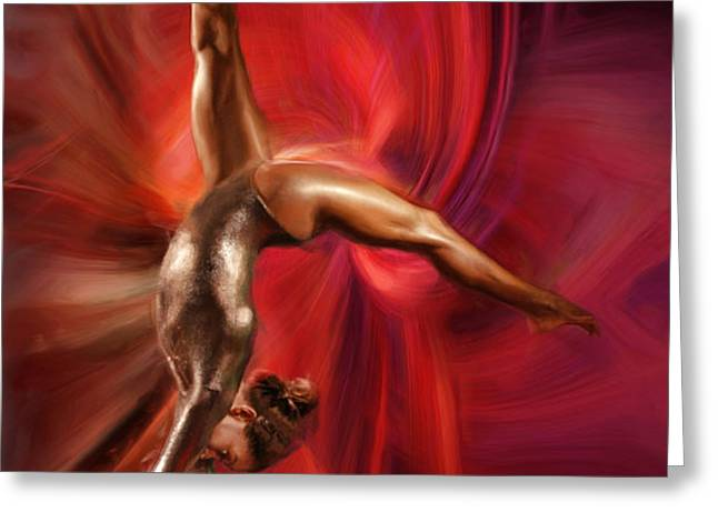Gabby Douglas Gymnasts Greeting Card by Blake Richards