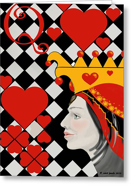 Alice In Wonderland Greeting Cards - Gabby Queen of Hearts Greeting Card by Carol Jacobs