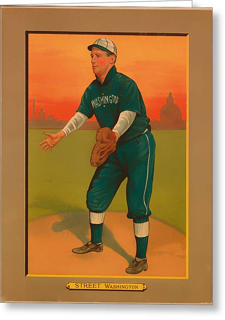 Player Drawings Greeting Cards - Gabby Street Baseball Card 1911 Greeting Card by Mountain Dreams