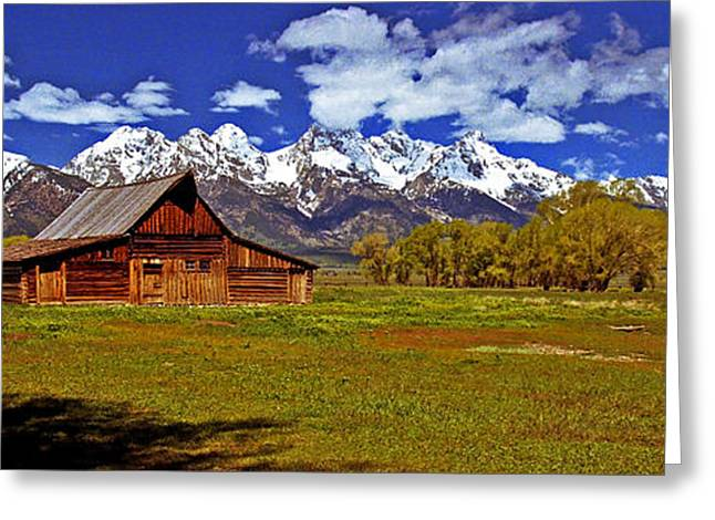 Snow Capped Greeting Cards - Gable Roof Barn Panorama Greeting Card by Rich Walter