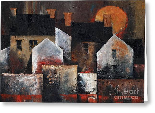 Tour Ireland Greeting Cards - Gables Sunset Greeting Card by Val Byrne